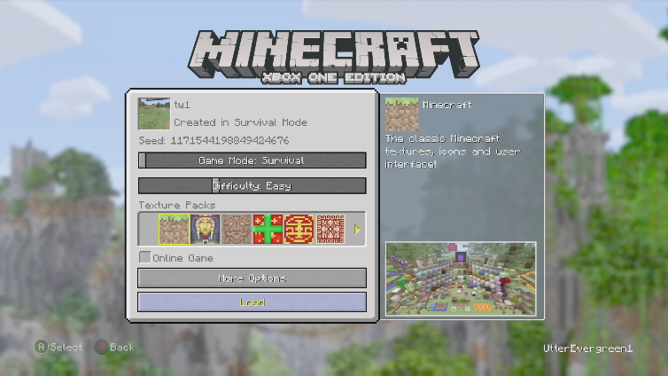 UtterEvergreen1 playing Minecraft: Xbox One Edition